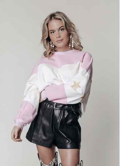 COLOURFUL REBEL 10018 – STARS DROPPED SHOULDER SWEAT OFFWHITE AND PINK