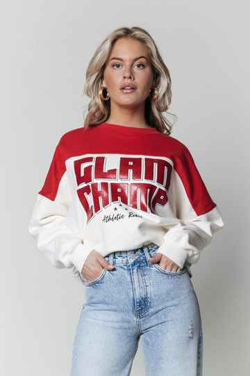 COLOURFUL REBEL Glam Champ Dropped Shoulder Sweat
