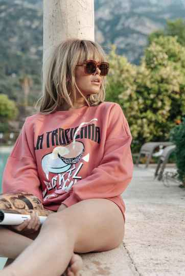 COLOURFUL REBEL La Tropicana Dropped Shoulder Sweater Old Pink