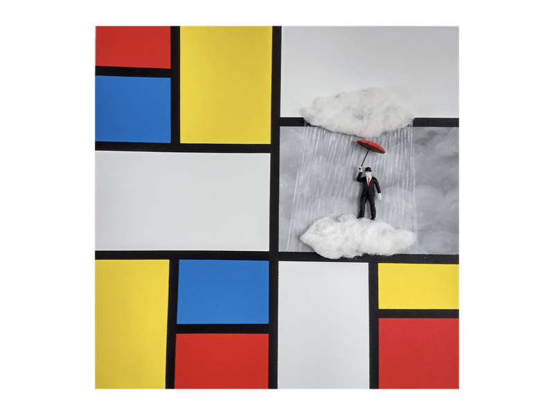Magritte in the Mondrian world - The storm, 40x40 cm