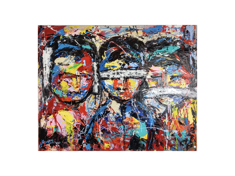 Abstract figures, hear, see, and speak no evil, 65x81 cm