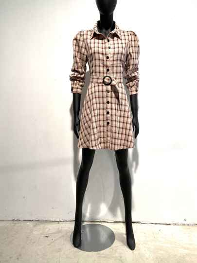 LOLA! BEIGE AND PINK DRESS WITH BELT