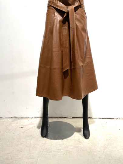 LOLA! FAUX LEATHER COGNAC SKIRT WITH BELT