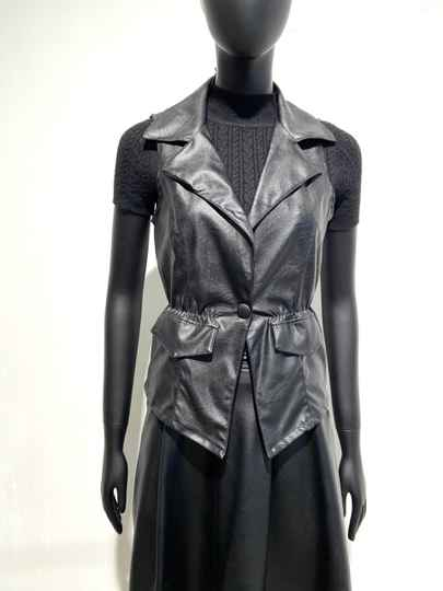 LOLA! FAUX LEATHER BIKER GILET