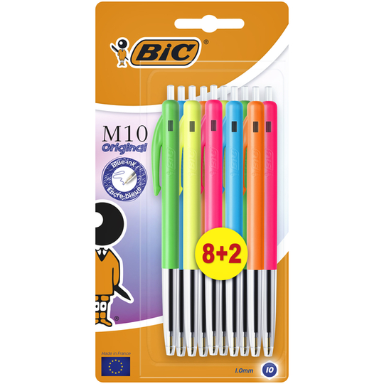 Balpennen Bic M10 colors limited edition 8+2 gratis