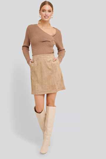 NA-KD A-line Faux Suede Skirt