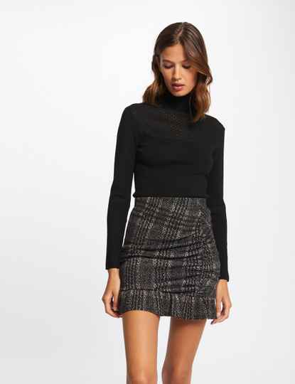 Morgan Checked shirred fitted skirt anthracite grey