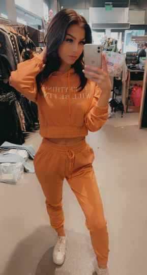 """Cropped """"Fine"""" tracksuit Coral"""