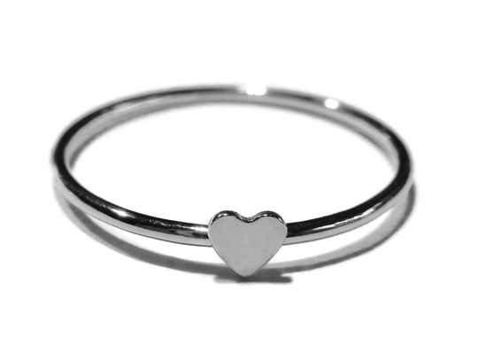stackring silver 1 mm heart RSS10