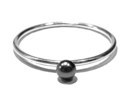 stackring silver 1 mm darkgrey RSS8