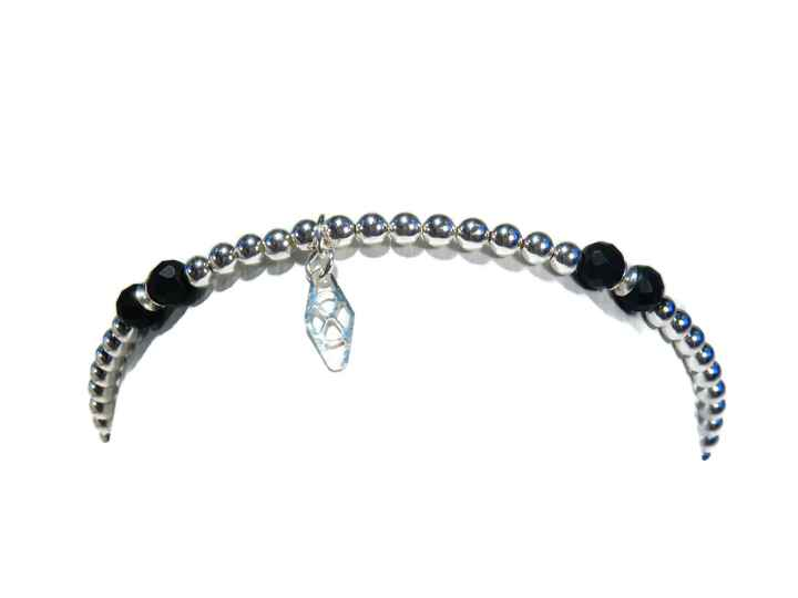 flexbracelet 3 mm silver with faceted mat spinel BFS1435