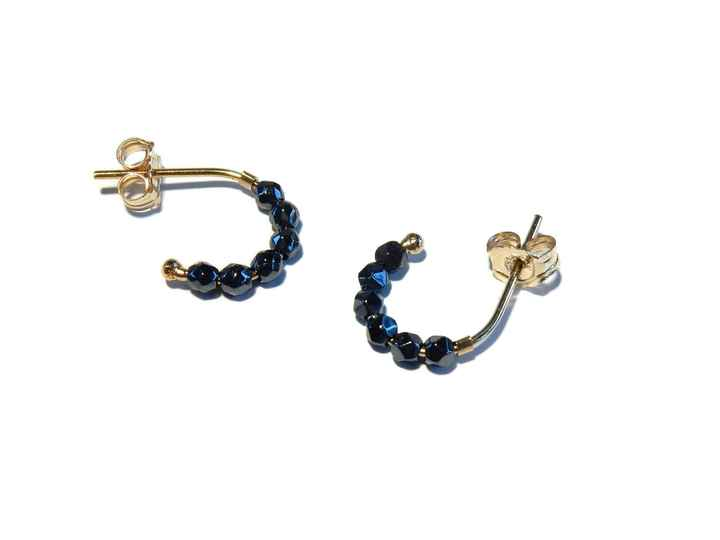stucs Moon shiny faceted Hematite SMO1476