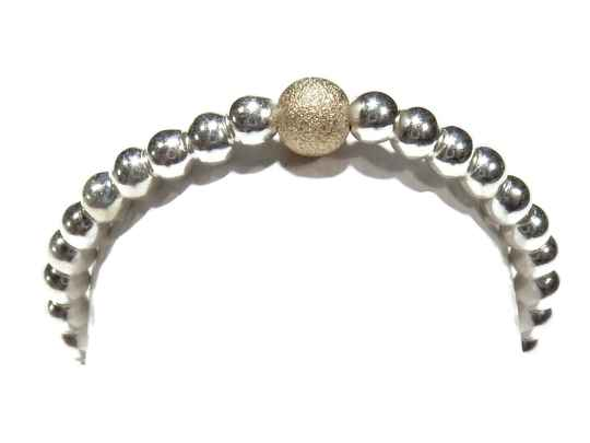 flexring 2 mm silver with dusted gold bead RF552