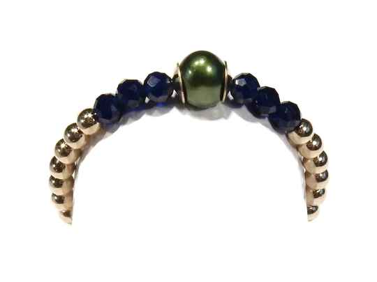 2 mm flexring green pearl & blue crystal RF1242