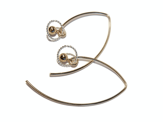 earrings ball in silver twisted ring E1114