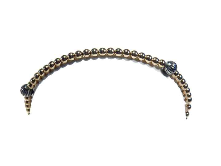 flexbracelet 3 mm with four oxidized silver patterned 4 mm beads BF1419