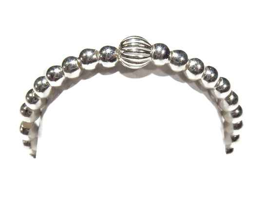 flexring 2 mm silver with patterned bead RF565