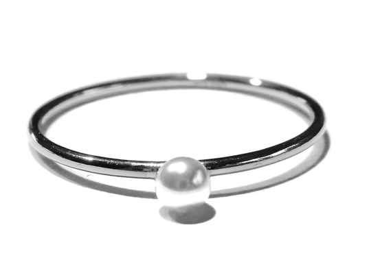 stackring silver 1 mm white ball RSS7