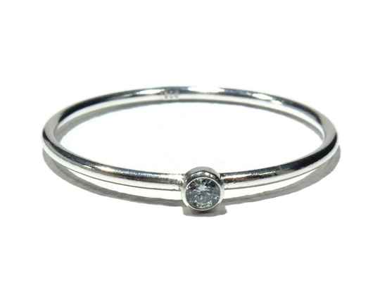 stackring silver 1 mm aquamarin RSS11