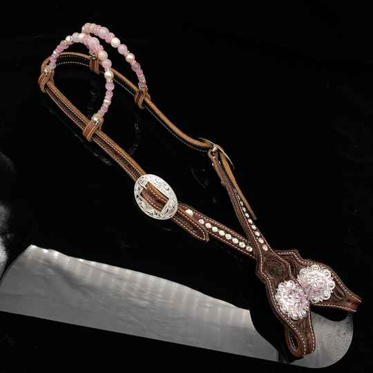 Headstall double ear soft pink