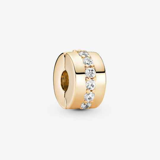 Pandora Gold Clips Clear Sparkling Bow 759518C01