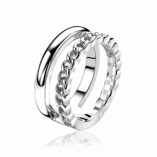 ZINZI Ring Zilver Duo Gourmet Glad ZIR1297