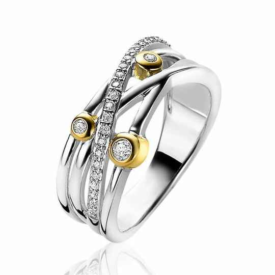 ZINZI Ring Zilver Bicolor Cross-over ZIR2020