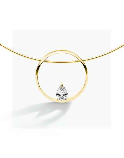 FJF Collier Pear Yellowgold/White FJF0010002YWH