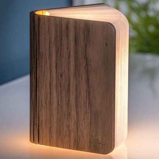 Gingko Mini Booklight Walnoot Hout
