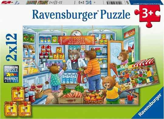 Ravensburger puzzel Market and Supermarket Scene 2 x 12