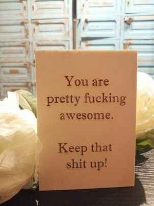 """Houten wenskaart A6 """"you are fucking awesome"""""""