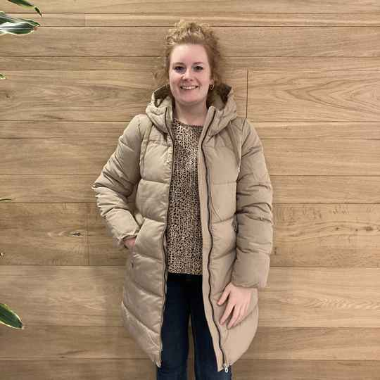 ONLY Dolly Long Puffer Coat 2 Zand