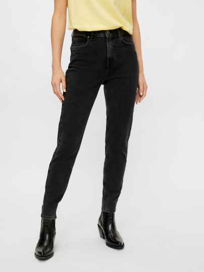 Pieces Leah Mom Jeans Washed Black