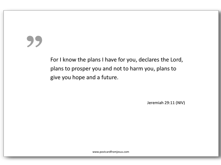 1502 - For I know the plans I have for you, declares the Lord, plans to prosper you and not to harm you, plans to give you hope and a future. Jeremiah 29:11 (NIV)