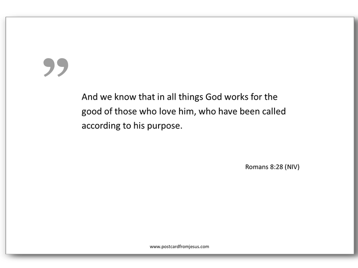 1503 - And we know that in all things God works for the good of those who love him, who have been called according to his purpose. Romans 8:28 (NIV)