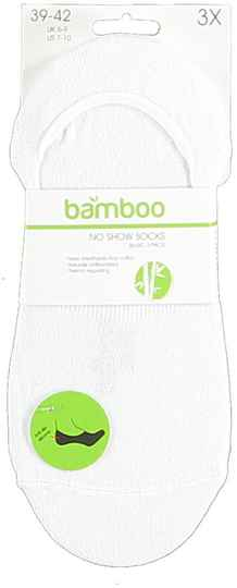 Bamboo bamboe no show sokken 3-pack wit