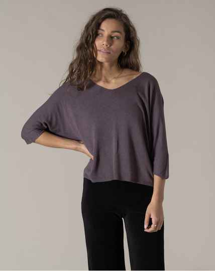Amber Knitted Top Aubergine