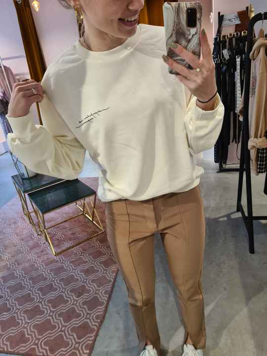 NA-KD quote printed sweater -beige-