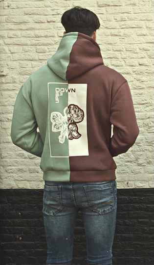 BOTH-SIDED ROSE HOODIE BORDEAUX/   MINT BLUE