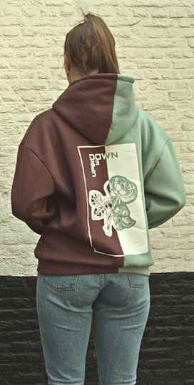BOTH-SIDED ROSE HOODIE MINT BLUE/       BORDEAUX