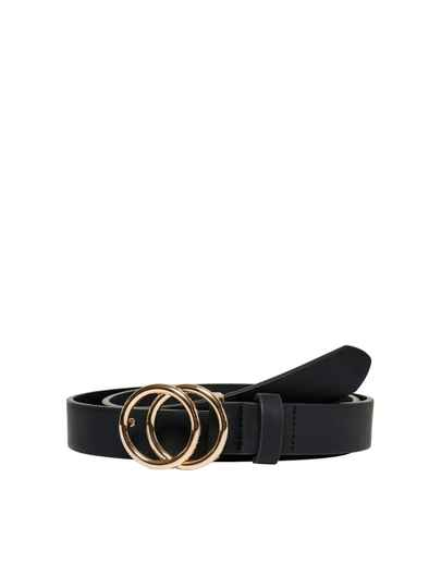 ONLY Rasmi Faux Leather Jeans Belt Black/Gold