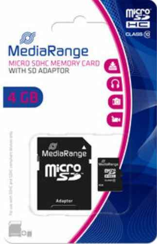 MediaRange 4GB Micro SD+Adapter
