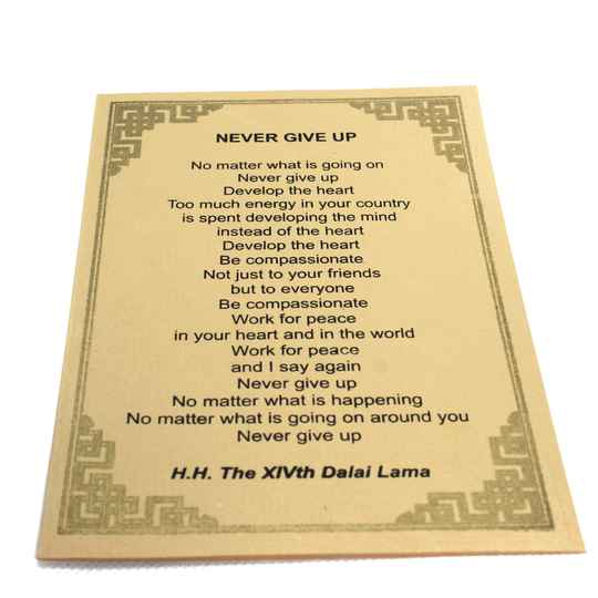 Dalai Lama kaarten (NEVER GIVE UP)