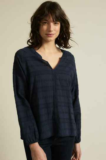 Lanius Blouse met Ingeweven Jacquard Patroon Navy