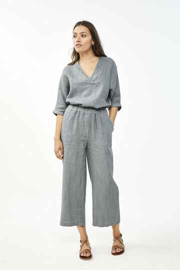 By Bar Ines Linen Pant (Smoke Blue)