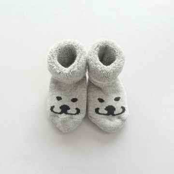 SOFT, GREY BABY BOOTIES THE SMILE OF BROM