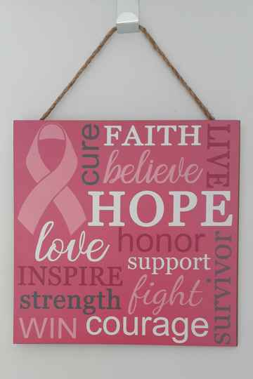"""10"""" Square Breast Cancer Awareness Wooden sign"""