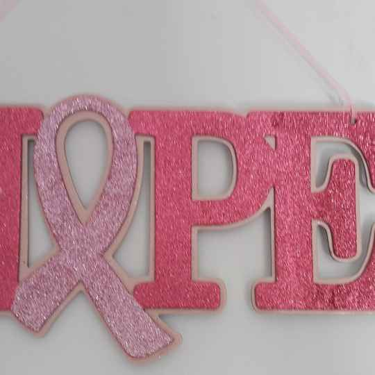 """14"""" Pink Glitter Support Ribbon Hope Sign"""