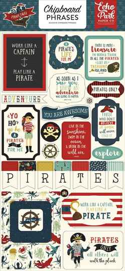 Echo Park Pirate Tales 6x13 Inch Chipboard Phrases (PTA176022)