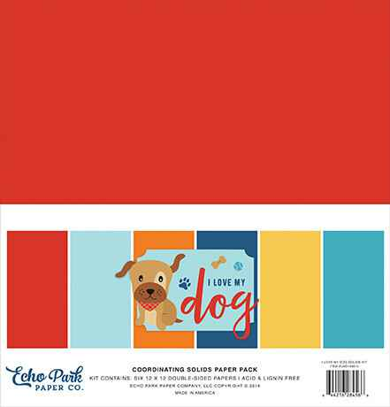 Echo Park I Love My Dog 12x12 Inch Coordinating Solids Paper Pack (LMD198015)